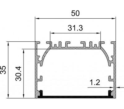 Накладной алюминиевый профиль H014
