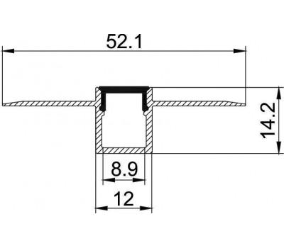 Безрамочный алюминиевый профиль B076